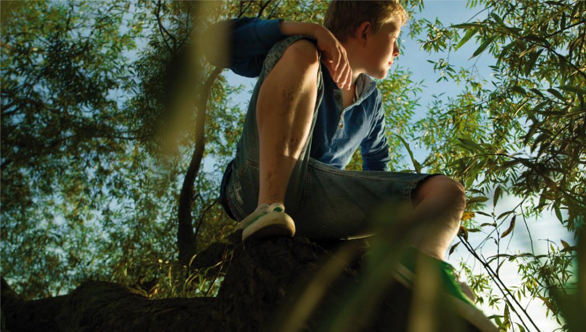 Junge hockt im Baum